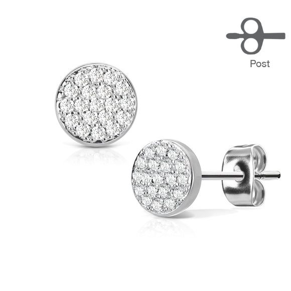 Micro Paved Cubic Zirconia Circle Earrings