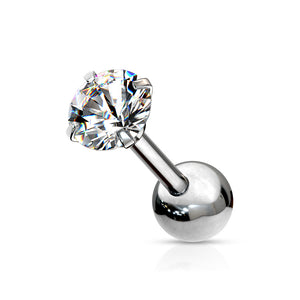 Cubic Zirconia Bead Back Stud - Multiple Sizes
