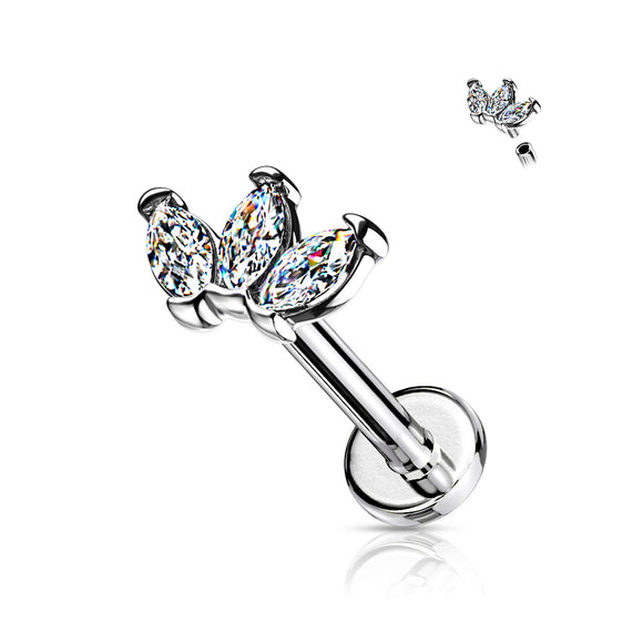 Crown Triple Marquise Cubic Zirconia Flat Back Stud