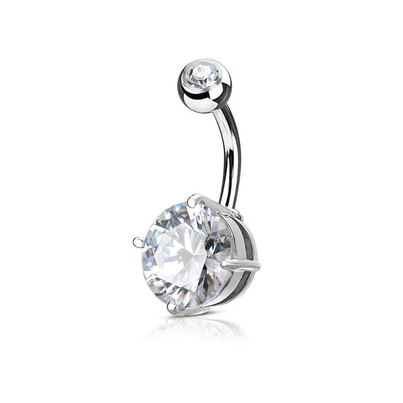 Large Round Cubic Zirconia Prong Belly Button Bar