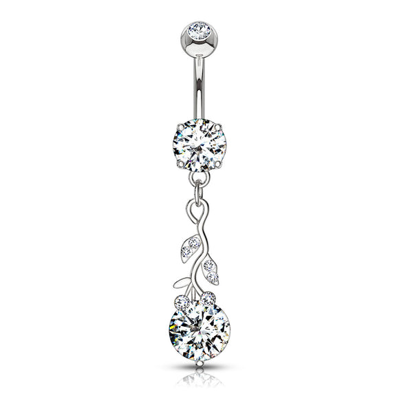 Leaves with Large Round CZ Belly Button Dangle