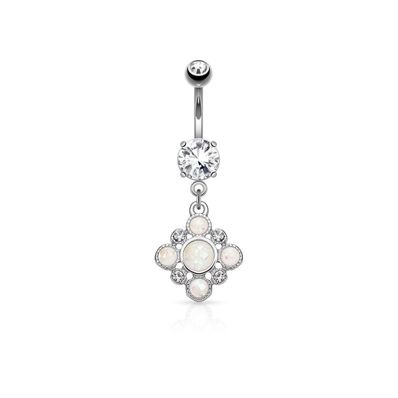 Opal & Cubic Zirconia Silver Vintage Style Belly Button Dangle