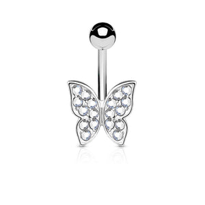 Crystal Paved Butterfly Belly Button Bar