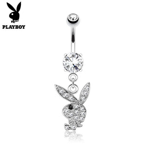 Paved Gem Playboy Belly Button Dangle