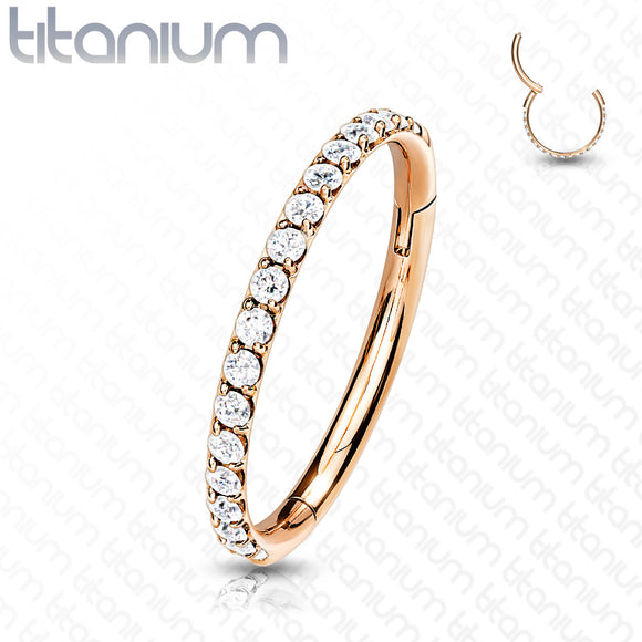 Titanium Outward Facing Paved Seamless Hoops 8mm