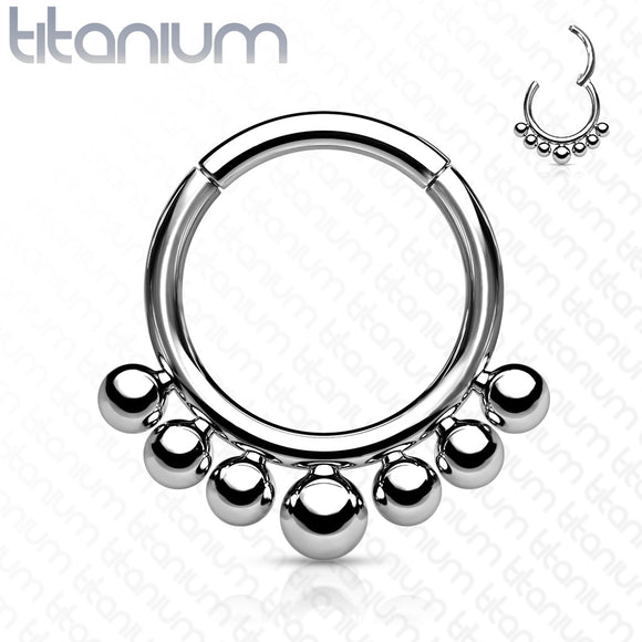 Titanium Seamless Hoop with Outer Beads
