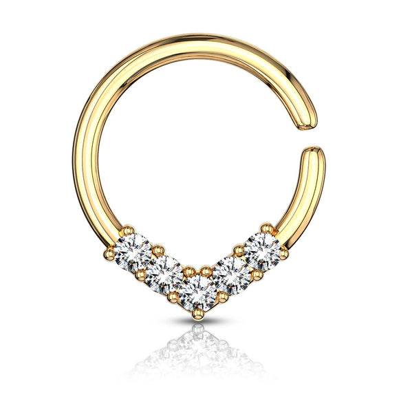 V Shaped Cubic Zirconia Set Hoop