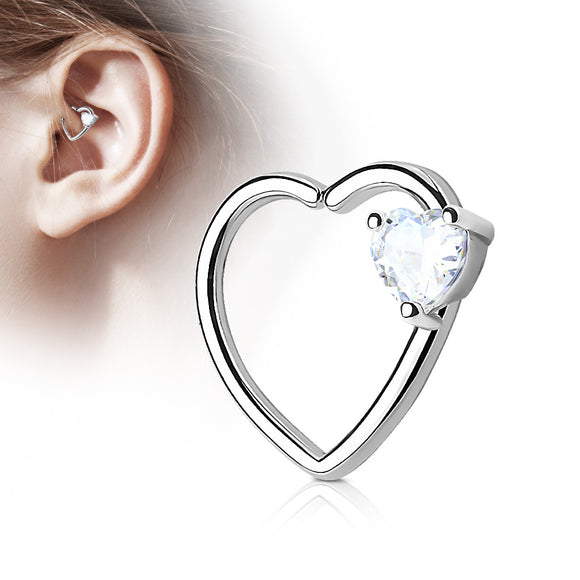 Heart Hoop with Cubic Zirconia