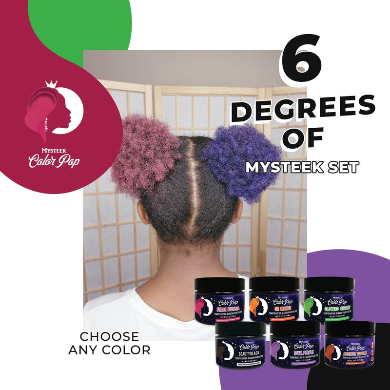 Six degrees of Mysteek Set (6 Colors 1 oz ) Royal Purple | Bougie Blue | Fierce Fuchsia | Fyah Red | Mutha Maroon | Twerkin Turquoise