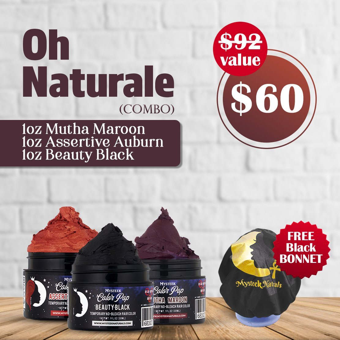 Oh Naturals Color Set ( 3 Colors 1oz) - FREE Bonnet