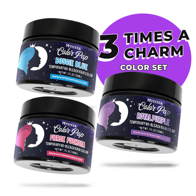 Three Time's a Charm Set (3 Colors 1/4 oz- Royal Purple,Bougie Blue and Fierce Fuchsia )