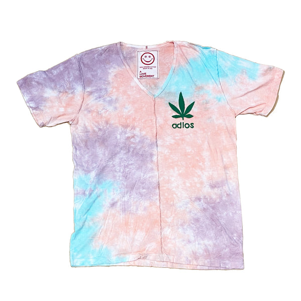 Tie-Dye Orgasm Cotton V neck Tee with Cashmere patch - A LOVE MOVEMENT