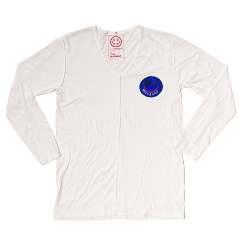 Orgasm Cotton V-neck Long Sleeve with Cashmere Smiley Patch
