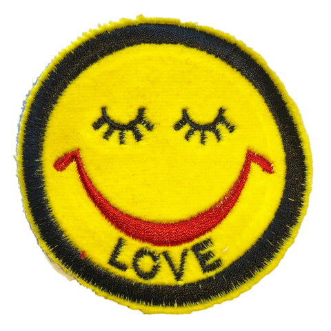 A Love Movement | Love Closed Eyes Smiley Embroidered Patch