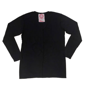 A Love Movement|Orgasm Cotton V-neck Long sleeve Tee Black