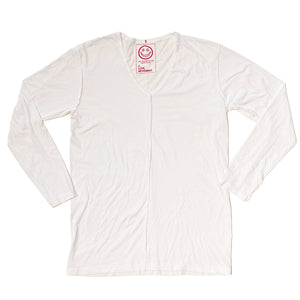 A Love Movement|Orgasm Cotton V-neck Long sleeve Tee White