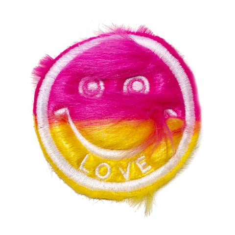 Half & Half Fur Smiley Patch Pink/Yellow - A LOVE MOVEMENT