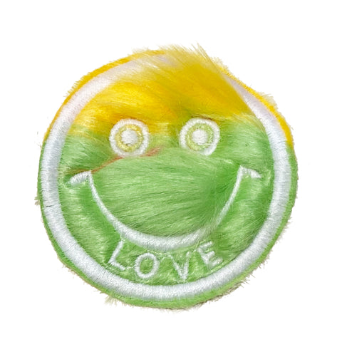 Half & Half Fur Smiley Patch Yellow/Green - A LOVE MOVEMENT