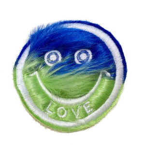 Half & Half Fur Smiley Patch Blue/Green - A LOVE MOVEMENT
