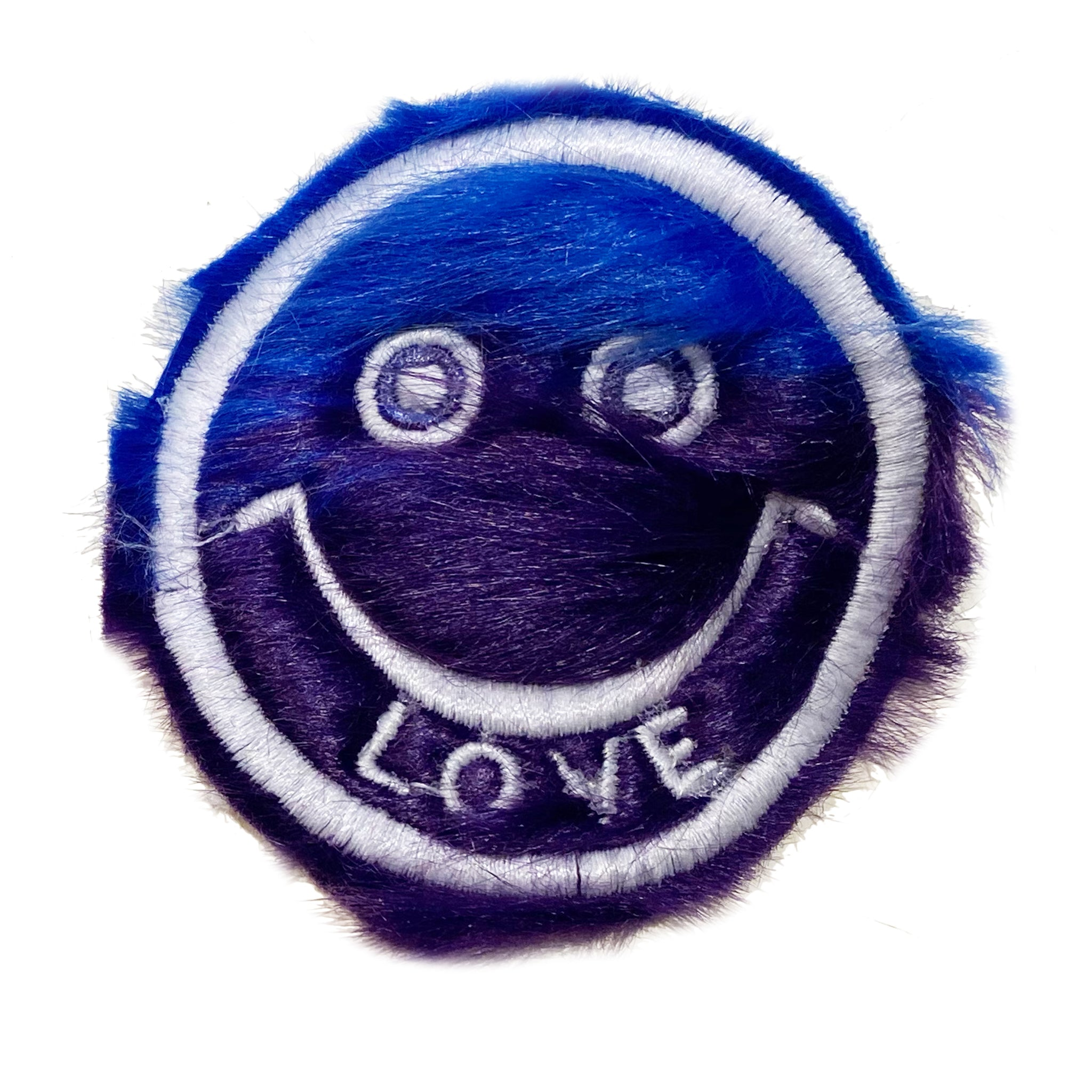 Half & Half Fur Smiley Patch Blue/Navy - A LOVE MOVEMENT