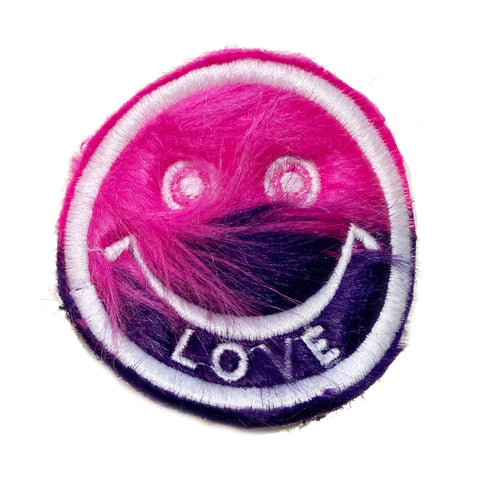 Half & Half Fur Smiley Patch Pink/Navy - A LOVE MOVEMENT