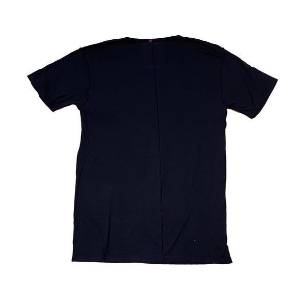 Orgasm Cotton V neck Tee Black with Cashmere patch - A LOVE MOVEMENT