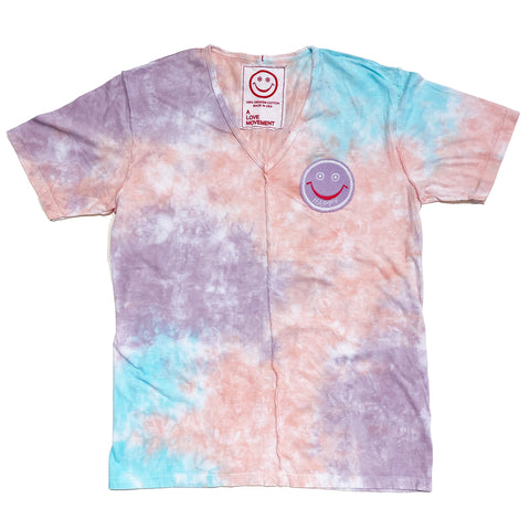 Special Tie-Dye Orgasm Cotton V neck Tee with Cashmere HAPPY patch - A LOVE MOVEMENT