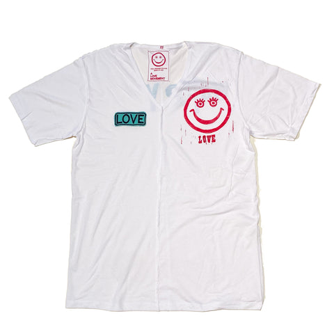 "Special hand printed Orgasm Cotton Tee ""HAPPY"" - A LOVE MOVEMENT"