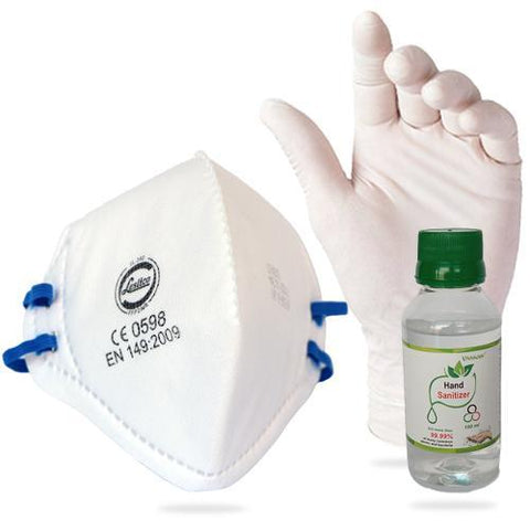 Leslico FFP2 Dust Mask with 100ml Hand Sanitizer & Gloves