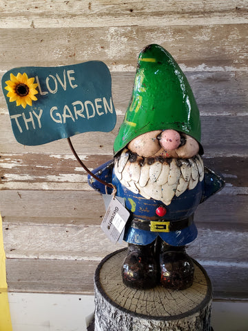 "Gnome Lionel With Sign 30""x16"""