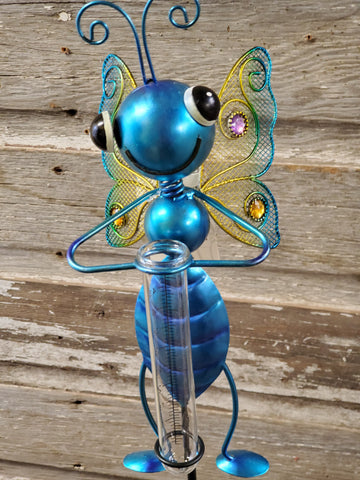 "Stake Rain Gauge Bug 36""x6"" Butterfly Blue"