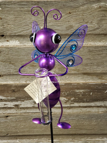 "Stake Rain Gauge Bug 36""x6"" Dragonfly Purple"