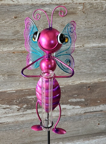 "Stake Rain Gauge Bug 36""x 6"" Butterfly Pink"