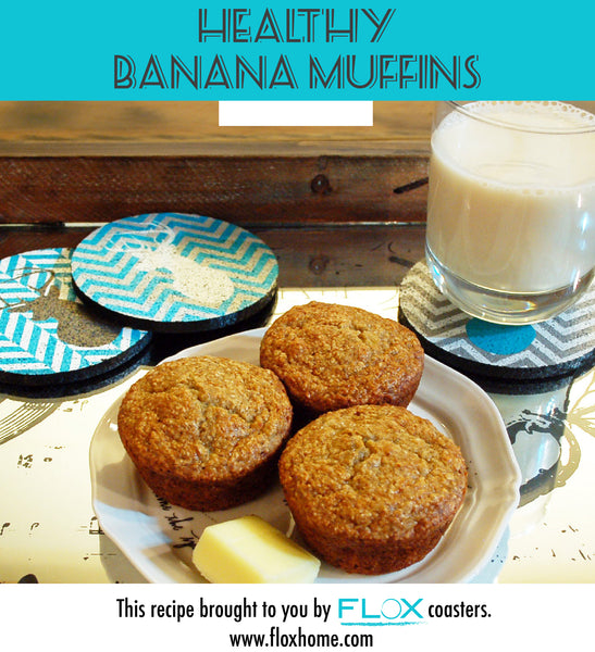 These tasty healthy banana muffins only clock in at 88 calories each making it a guilt free treat! Featuring Flox Deer Coasters to style the moment. Recipe: 1 cup oatmeal flour (grind up oatmeal in blender) 1 tbs baking powder 1/2 tsp baking soda 1/4 tsp salt 1 cup mashed ripe banana (about 3 mashed bananas) 1/4 cup white sugar 1/4 cup sour cream 1 egg 1/2 tbs vanilla extract 1/2 tsp nutmeg/cinnamon blend Preheat oven to 350 degrees, mix ingredients, bake for 15-20 minutes. Makes 12.