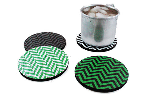 Flox 'Chevron in Chartreuse' Rubber Coasters