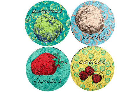 Flox 'French Fruits' Rubber Coasters
