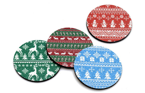 Flox'Ugly Sweater' Rubber Holiday Coasters