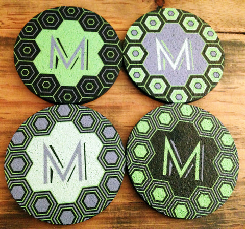 Flox Monogram Rubber Coasters - Other Letters Available