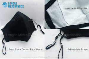 Black Reusable Washable Cotton Activated Carbon Filter Non-medical Masks