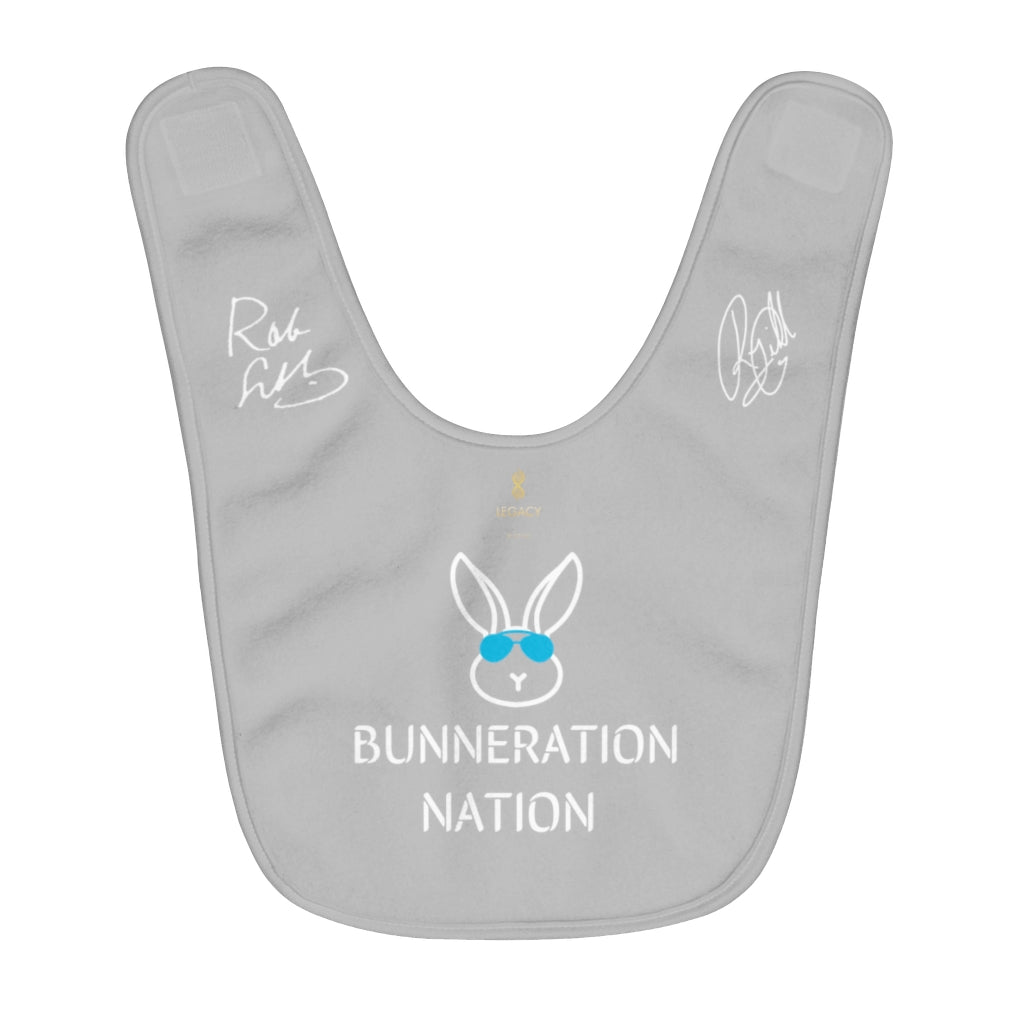 Official Robin & R.J. Gibb Signature Bunneration Nation Light-Grey Fleece Baby-Bib | NOW ONLY 23.99!