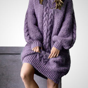Designer Loose Knitted Violet Hemp Flower, Knitting Cotton and Wool Sweater - FREE SHIPPING -