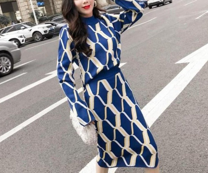 Autumn / Winter Collection Women's Knitted Geometric Patterned Sweater & Pencil Skirt Set - In Blue, Grey & Black - FREE SHIPPING -
