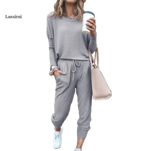 Women's Sporty Cashmere Tracksuit with Long-Sleeve O-Neck Blouse-Top & Drawstring Sweatpants - FREE SHIPPING -
