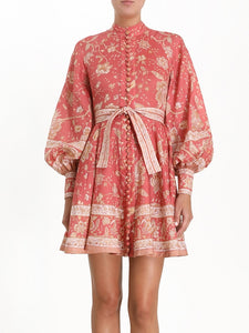 Single-Breasted, Floral Print, Lantern-Sleeve Ladies Vintage Chiffon Vestidos - FREE SHIPPING -
