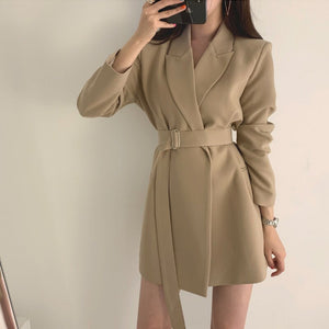 Notched-Collar Long Sleeve, High Quality Short-Dress with Belt - FREE SHIPPING -