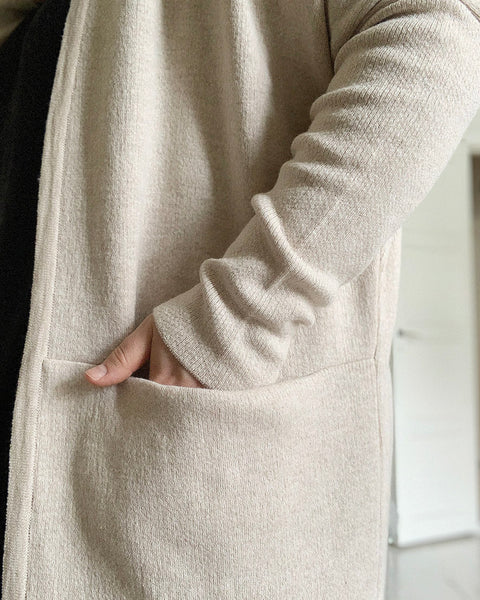 KNIT LONG CARDIGAN, Melange Cream, Adults
