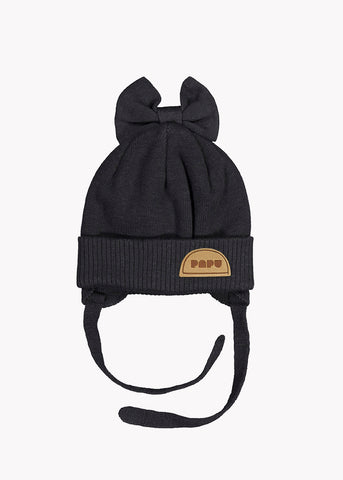 KNIT BOW BEANIE, BLACK, BABY