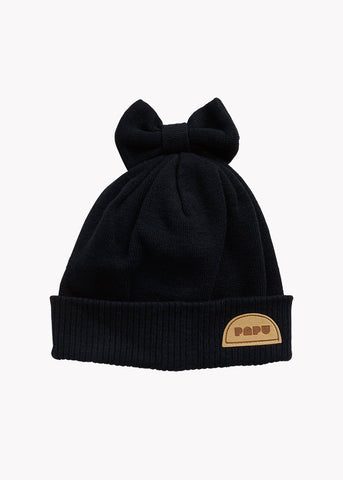 KNIT BOW BEANIE, BLACK