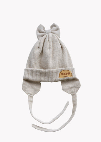 KNIT BOW BEANIE, CREAM MELANGE, BABY