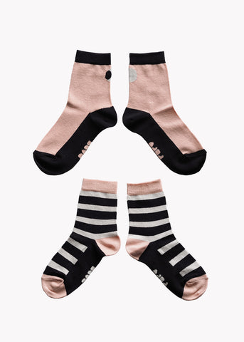 SOCKS, Double Pack, Black/Pink/Grey
